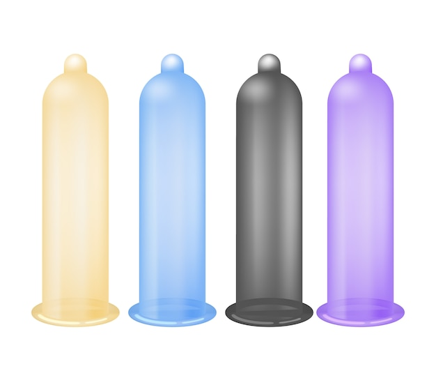 Colorful latex condoms isolated