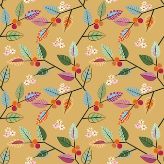 Colorful leaf design seamless pattern