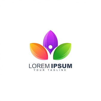 Colorful leaf human abstract logo design template