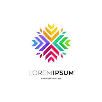 カラフルなリーフパターンのロゴのテンプレート