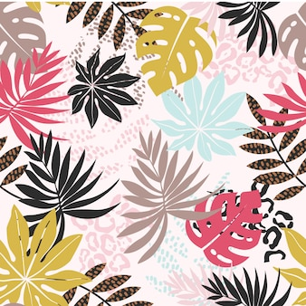 Colorful leaf seamless pattern background