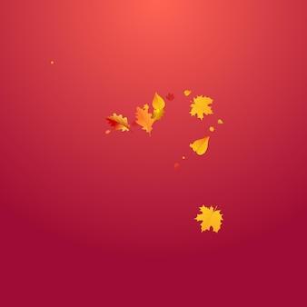 カラフルな葉ベクトル赤い背景。森の葉テンプレート。黄色のリアルな葉のテクスチャ。デザインイラスト。