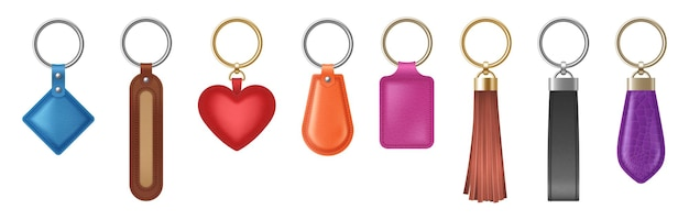 Colorful leather keychain of different shapes with metal golden and silver chain and ring. realistic set of holder trinket, fob for car, home or office keys. vector illustration