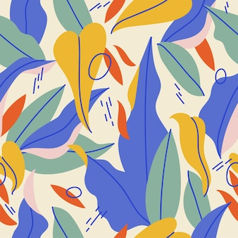 カラフルな葉の抽象的なデザインの明るい背景イラストのシームレスなパターン
