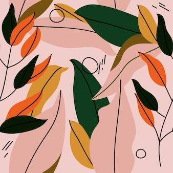 カラフルな葉の抽象的なデザインのシームレスなパターンの淡いピンクの背景イラスト