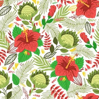 화려한 잎과 이국적인 꽃 패턴