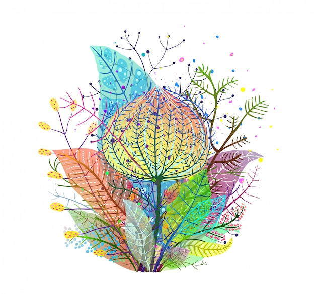 Colorful leaves decoration transulent arrangement