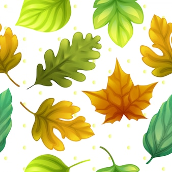 Colorful leaves and dot pattern seamless vector