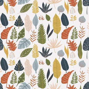 Colorful leaves print pattern background
