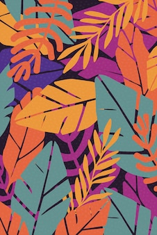 Colorful leaves seamless pattern background