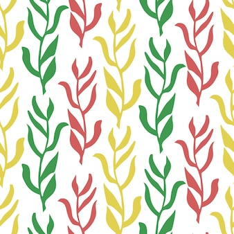 カラフルな葉のシームレスなパターン分離ベクトルイラスト植物の背景
