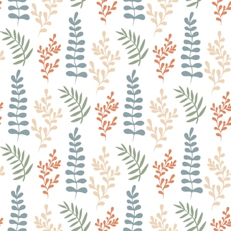 Colorful leaves seamless pattern. vector  hand-drawn texture