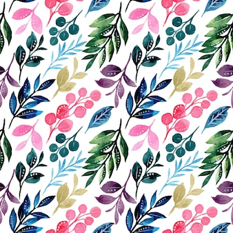 Colorful leaves seamless pattern with watercolor