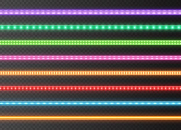 カラフルなledストリップコレクション、明るい発光リボンが透明な背景に分離されました。リアルなネオン、照らされた装飾テープセット。図。