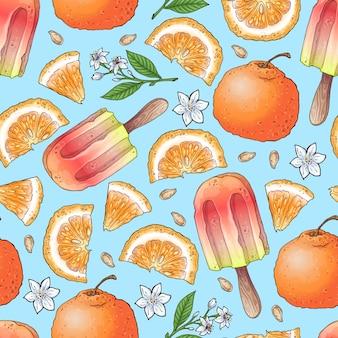 Красочное мороженое с лимоном и мандарином и цитрусовыми