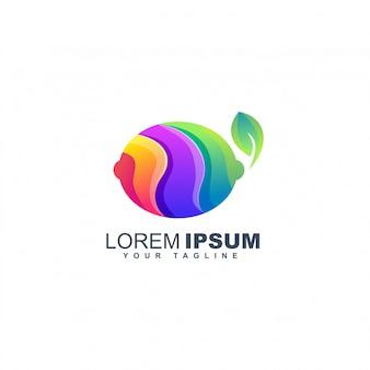 Colorful lemon fruit logo design template