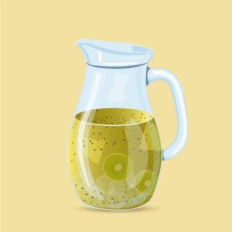Colorful lemonade pineapple and kiwi vector illustration isolated