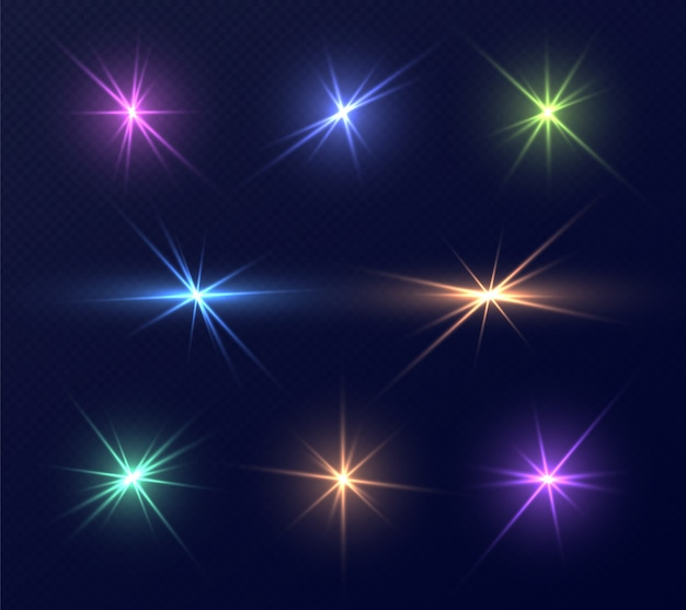Colorful lens flares set, bright glares with rays. collection of magic sparks