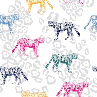 Colorful leopard seamless pattern