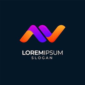 Красочная буква a и v современный дизайн логотипа