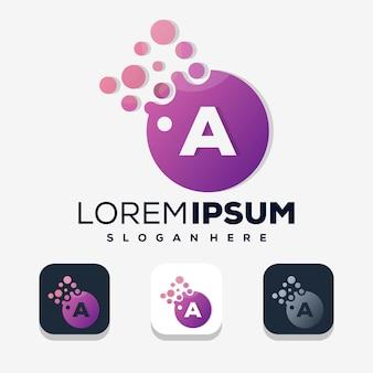 Красочная буква a с точечным логотипом