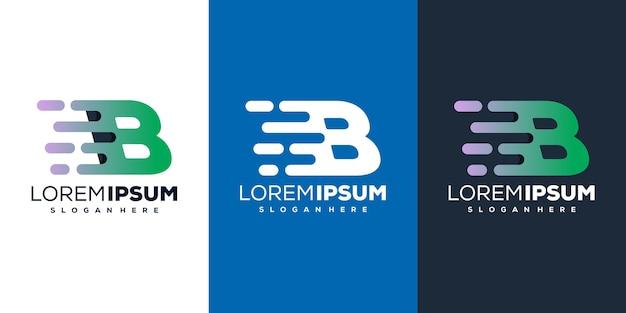 다채로운 편지 b 기술 로고 디자인