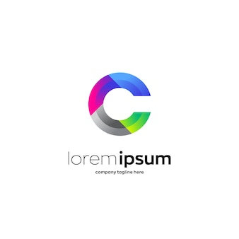Colorful letter c premium logo template