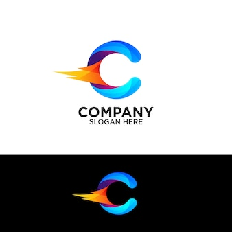 Colorful letter c with fire logo design