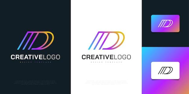 선 스타일로 추상적이고 현대적인 개념의 다채로운 문자 d 로고 디자인. 기업 비즈니스 아이덴티티에 대한 그래픽 알파벳 기호