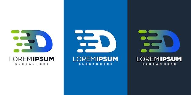 다채로운 편지 d 기술 로고 디자인