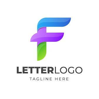 Colorful letter f logo design