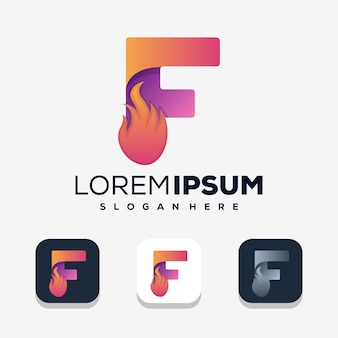 Красочная буква f с логотипом огня