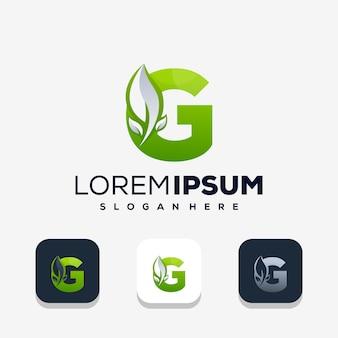 葉のロゴのデザインとカラフルな文字g