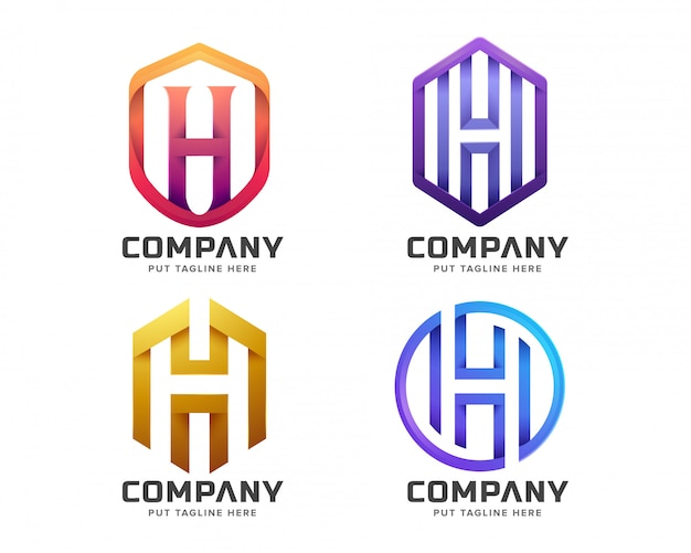 Colorful letter initial h logo collection