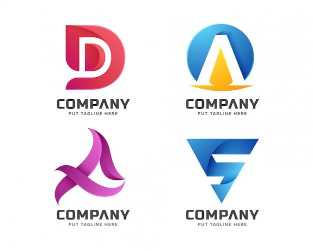 カラフルな文字の初期ロゴコレクション Premiumベクター