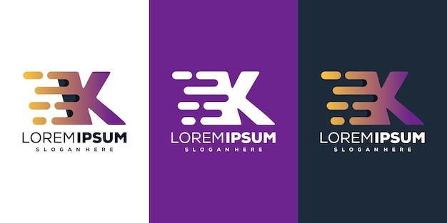 Красочная буква k tech дизайн логотипа
