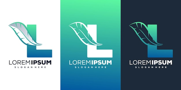 Красочная буква l с шаблоном логотипа перо