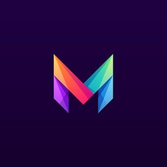 Colorful letter m logo design mark
