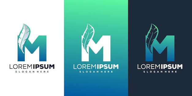 Красочная буква m с шаблоном логотипа перо