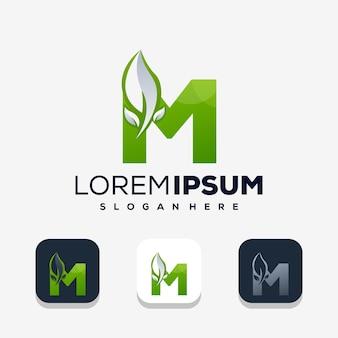葉のロゴのデザインとカラフルな文字m