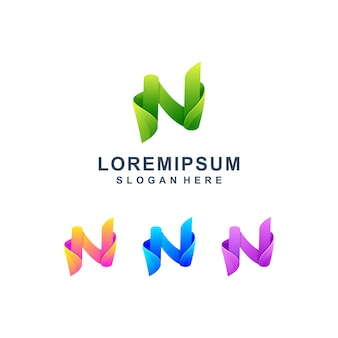 Colorful letter n logo premium