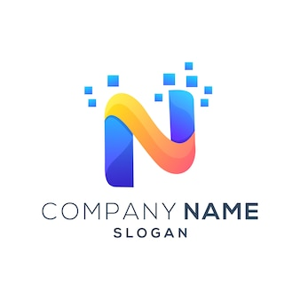 カラフルな文字n現代ロゴ