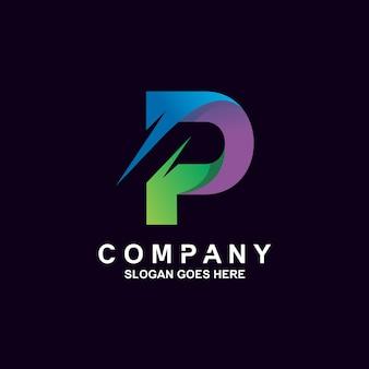 Красочный дизайн логотипа буква p
