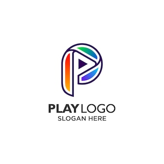 Colorful letter p for play button logo design