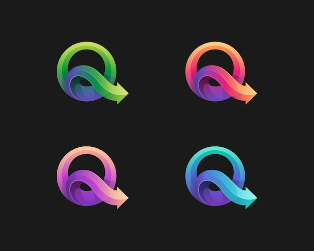カラフルな文字qロゴバリエーション