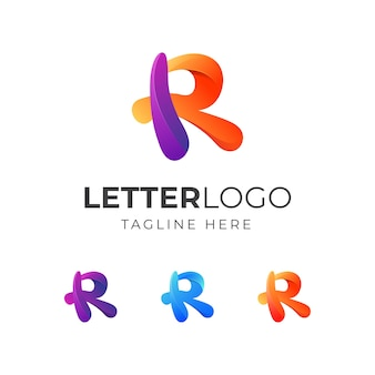 カラフルな文字rのロゴデザイン