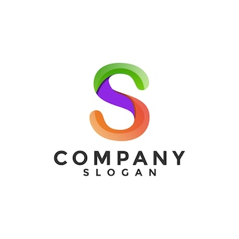 Colorful letter s gradient logo template
