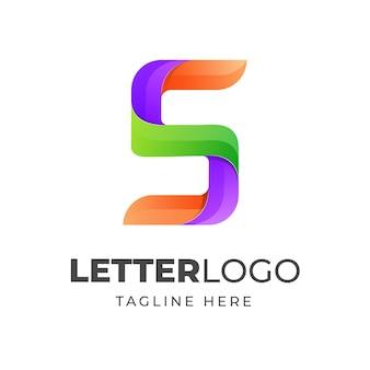 다채로운 문자 s 로고 템플릿 현대적인 디자인