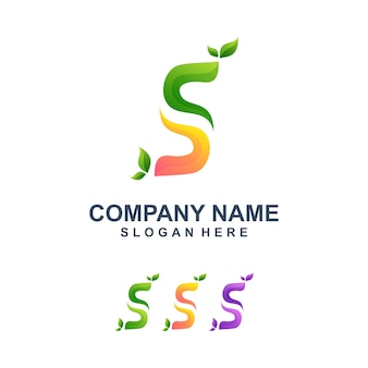 Colorful letter s with leaf logo