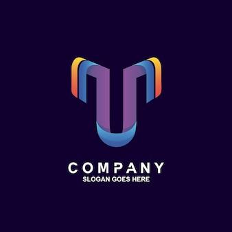 Colorful letter t logo design